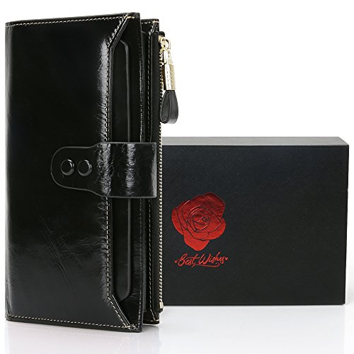Geldbörse Damen RFID Schutz, Damen Geldbörse Echt Leder Clutch Brieftasche, 10 RFID Schutz Kartenfächer 2 ID Windows 6 Geld Fächer, Portemonnaie Deman Geschenkbox für Geschenke (Lange-Schwarz) -