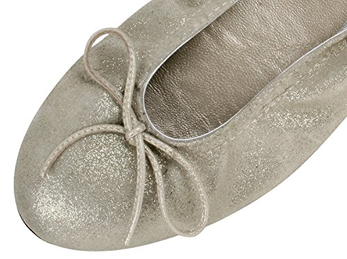 clic! CL- 7290 DE M盲dchen Damen Ballerinas mit Schleife Beige-Gold (Cosmos Karma)