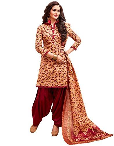Jevi Prints Women's Unstitched Cotton Beige & Red Floral Patiyala Punjabi Suit...