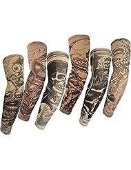 Autek Hot 2015 haute qualité Lot 6 Pcs temporaire Faux Slip On bras de tatouage manches Kit M
