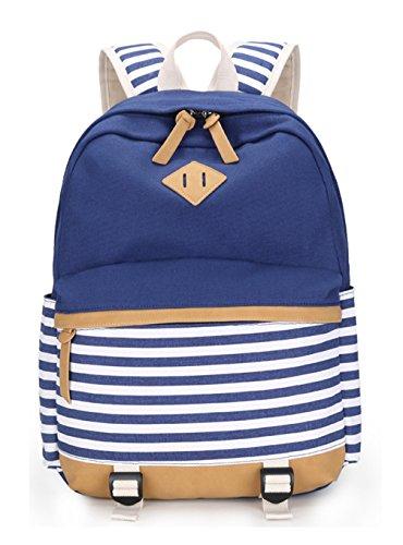 Keshi Leinwand neuer Stil Schulrucksäcke/Rucksack Damen/Mädchen Vintage Schule Rucksäcke mit Moderner Streifen für Teens Jungen Studenten Mehrfarbig 1