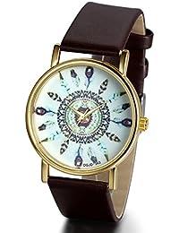 Jewelrywe Reloj hombre tribus indígenas de plumas Dial banda relojes de pulsera para parejas y amantes (Caffe)