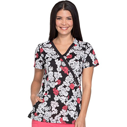 Dickies Fashion Prints Women's Mock Wrap Floral Print Scrub Top LCBO - Mock Scrubs Wrap Womens