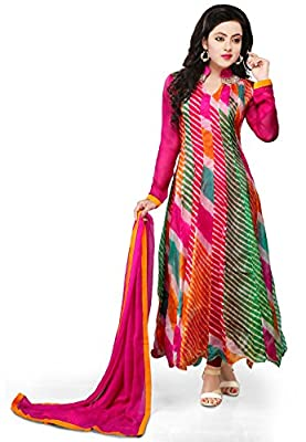 Utsav Fashion Printed Pure Kota Tissue Anarkali Suit in Multicolor