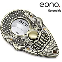 Eono Essentials Cigar Cutter Lock System Antiqued Bronze 3D Skull Bodies Stainless Steel Self Sharpening Guillotine Double Cut Blade Scissors