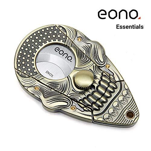 Amazon Marke: Eono Essentials Zigarrenschneider mit Verschlusssystem Bronze im Antik-Look 3D-Schädel Rostfreier Stahl, Selbstschärfende Guillotine, Doppelklinge