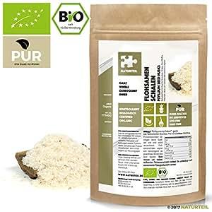 NATURTEIL - BIO FLOHSAMENSCHALEN GANZ / Superfood, Psyllium Seeds Husks Whole Organic, Vegan - 250g