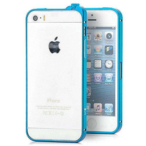 Saxonia Aluminium Bumper Apple iPhone SE / 5 / 5S Ultra Slim Alu Case Schutz Hülle Rahmen (Drehknopf-Verschluss) Hellblau