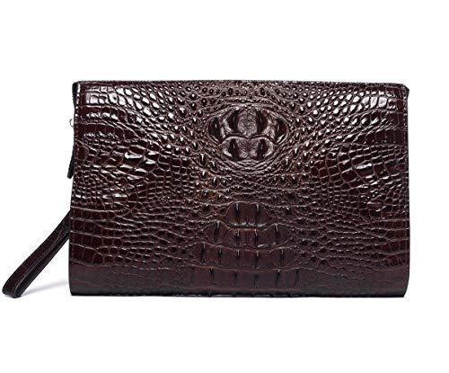 Krokodil Handgelenktasche Handtasche Herren, Krokodil Muster Leder Herrentasche Business Geldbörse Echtleder Karten Clutch Tasche mit Reißverschluss für Mann