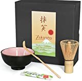 Aricola® Juego para té matcha, juego de 3piezas, 250ml, diseño con efecto agrietado, cuenco para té matcha, cuchara de bambú, brocha de bambú, en caja de regalo, color rosa