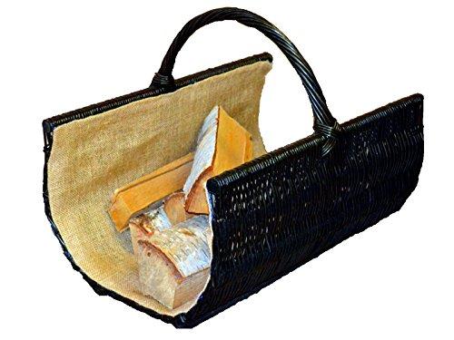 BOOGARDI Panier en osier tressé à la main en 2 tailles pour le rangement de bois de chauffage ou comme panier de courses, marron