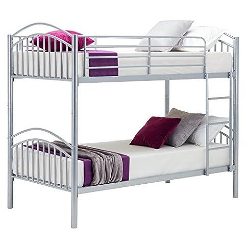 UEnjoy Bunk Beds Frame Single Bed Silver 3FT for Children