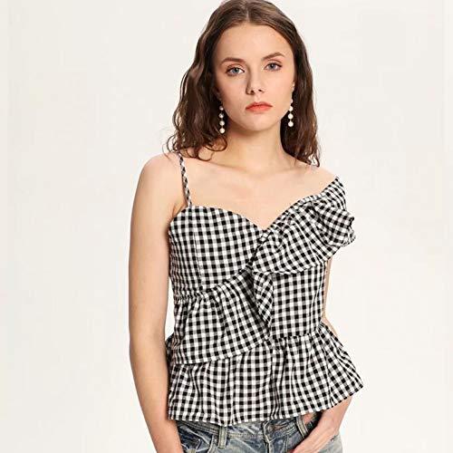 WDFSER Damenhemd mit unregelmäßigem Rüschenkragen und One-Shoulder-Träger. Kariertes, sexy Sommer-Freizeithemd für Damen -