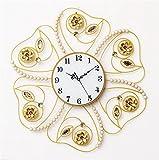 NWYJR Wanduhr Moderne Eisen en Acryl Perle Blinkende Wohnzimmer Stumm Horizontale Uhren White