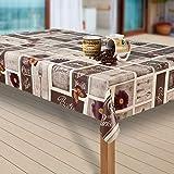 Wachstuch-Tischdecke Wachstischdecke Tischwäsche Abwaschbar Meterware Wachstuchdecke G04, Muster:Cafe Paris Blumen braun-grau, Größe:130x160 cm