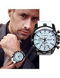 Transer Mode en acier inoxydable de luxe Sport Quartz Analogique Moderne Hommes Mode montre-bracelet Noir (Blanc)