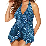 Alaso Badeanzug Kleid Große Größen Women Tankini Sets with Boy Shorts Swimwear Hight Waist Two Piece Swimsuits(4XL, Blue)