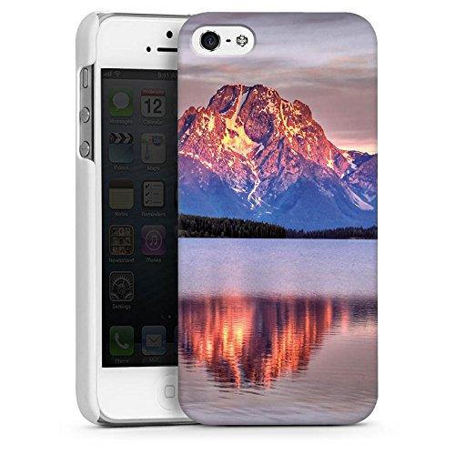 Apple iPhone 5s Housse Étui Protection Coque Paysage alpin Lac Forêt CasDur blanc