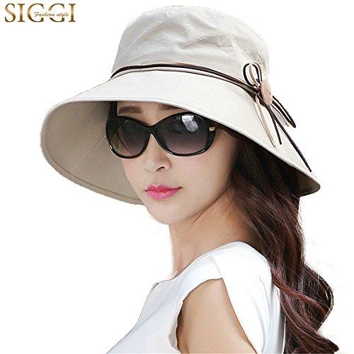 SIGGI SIGGI Faltbarer Sommerhut Sonnenhut mit Sonnen Schutz Damen Baumwolle breite Krempe Khaki