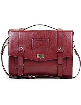 ECOSUSI Umhängetasche Vintage Handtasche Damen Schultertasche Rucksack Laptoptasche 14,7