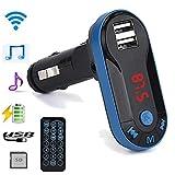TianranRT Drahtlos FM Sender MP3 Player Freisprecheinrichtung Auto Kit USB TF SD Fernbedienung (Blau)