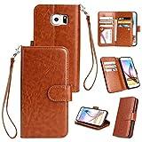 BONROY® Schlichte Einfarbige Hülle für Samsung Galaxy S6 Brieftasche in Lederoptik, Schale mit Karteneinschub, Etui, Buchstil Geldbörse - (HS-einfarbig 9 Karte braun)