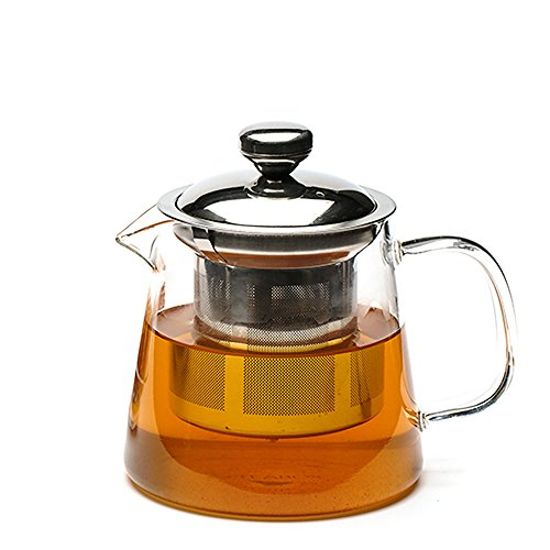 Teabox Glass Teapot with Removable Stainless Steel Infuser & Lid for Loose Leaf Tea | Microwave safe Borosilicate Glass Tea Pots, 500 ml | Urban Teapot