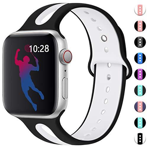 Maledan für Apple Watch Armband 42mm 44mm, Wasserdicht Weiches Silikon Ersatzarmband - Zweifarbiges Uhrenarmband für iWatch/Apple Watch Series 4 Series 3 Series 2 Series 1, S/M, Weiß/Schwarz - Silikon-armband-nike