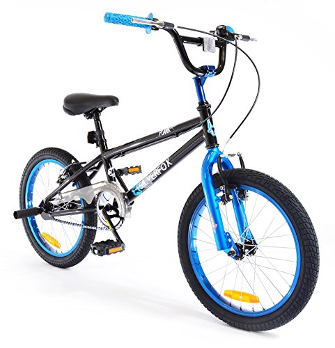 New Boys/Chidrens Black/Blue Silverfox Plank 18Inch Bmx Freestyle Bike - Assorted - Best Price and Cheapest