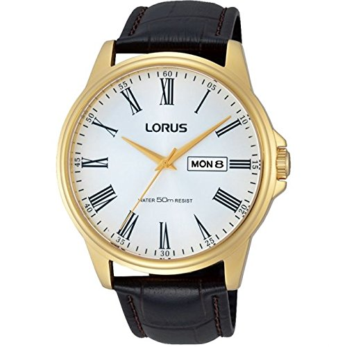 Lorus Mens Brown Leather Strap Day Date RXN10DX9