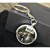 Portachiavi dente di leone medaglione d'argento - desiderio di tarassaco regalo unico per le donne portachiavi con medaglione di vetro