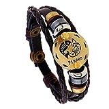 12 Sternzeichen Damen Herren Armband Leder Lederarmband Paare Seil Wristband Charms Armband mit verstellbaren Knopf Weinlese (Fische)
