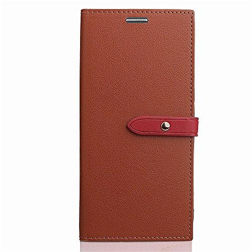 EKINHUI Case Cover Slim Premium PU Leder Geldbörse Hülle Flip Stand Schutzhülle mit Card Slots und Niet Gürtelschnalle Closure für Samsung Galaxy J7 (2017) American Edition ( Color : Wine ) Brown