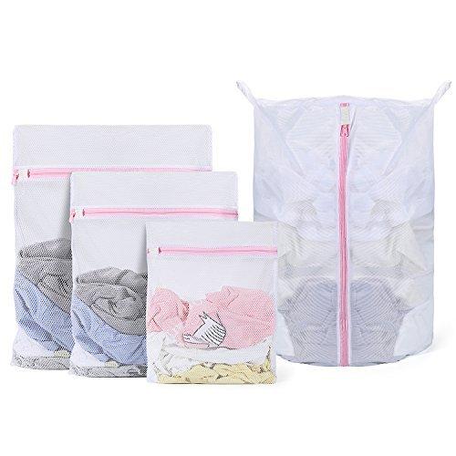Mee Leben Set von 4 Wäsche für Dessous Pullover mit kleine runde Wash Bag schützt Kleidung in die Waschmaschine – nicht mehr Haken, Verknoten oder, durch Waschen auch in zartem-Modus (groß) (Pullover Wash Bag)