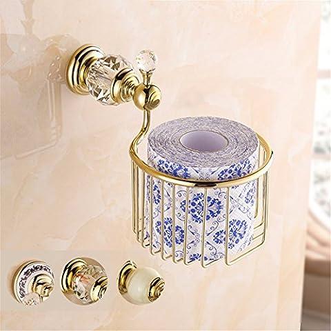 STAZSX Rack Kupfer Bad europäischer und weißen Porzellan Serviette Feld Rollen Papier Handtuchhalter jade, Kristall Diamant rose gold