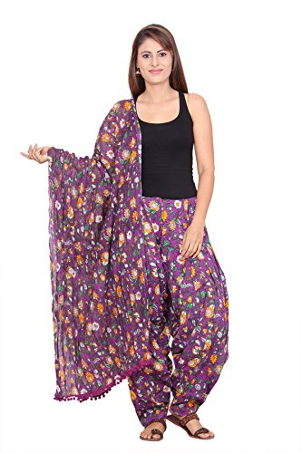 Mon Ange Floral Print Purple Colour Full Patiala with Dupatta Set