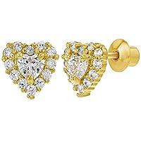 18k Gold Plated Clear Screw Back Heart Kids Baby Earrings 5mm