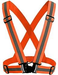 Andux Réglable haute visibilité élastique réfléchissant Gilet de sécurité Ajustement pour la Course, le Jogging,le Vélo,la Marche,la Moto Orange FGBX-01