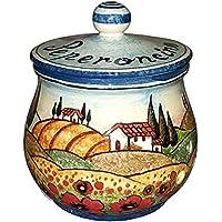 CERAMICHE D'ARTE PARRINI- Ceramica italiana artistica , barattolo peperoncino decorazione paesaggio papaveri , dipinto a mano , made in ITALY Toscana