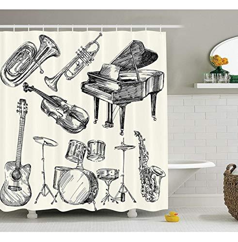 Chenghao's shop Musik Dekor Duschvorhang Set Sammlung Von Musikinstrumenten Sketch Style Art Mit Trompete Klavier Gitarre Badzubehör 240 (B) X 200 (H) cm -