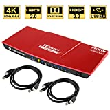 TESmart 4x1 Interruttore KVM HDMI 4K 3840x2160@60Hz 4:4:4 con 2 Cavi KVM 5ft/1.5m Supporta dispositivi USB 2.0 Dispositivi USB 2.0 Controlla Fino a 4 Computer/Servers/DVR (Rosso)