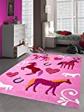 Kinderteppich Spielteppich Kinderzimmer Teppich Pferd Design mit Konturenschnitt Pink Creme Rot Orange Gelb Schwarz Größe 120 cm Rund