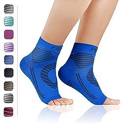 Featol Knöchelbandage Fußgelenkstütze Fußbandage Kompressionssocken, Schutzfunktion, Schmerzlinderung und Blutzirkulation behilflich für Männer und Frauen (Blau, L)
