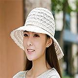 GAOQIANGFENG Womens UPF 50 + Sommer, Damen Atmungsaktiv, Falten, Hohlen Spitze, Strand Sonnenschirm, Sonnencreme und Sonnenschirm, Weiß