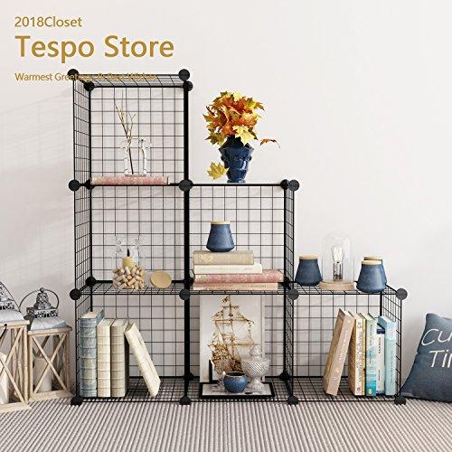 Tespo DIY Metal Wire Storage 6 Würfel, Multi-Use Modular Storage Regal, Open Organizer Schrank Schrank für Bücher, Spielzeug, Werkzeuge. (Wire-cube-regale)