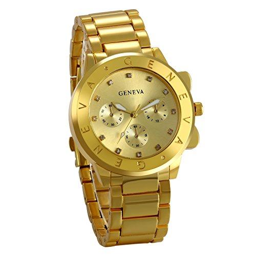 JewelryWe Montre Homme d'Affaire Business Quartz Bracelet Acier Inoxydable Alliage Fantaisie Or Longueur 23.5cm