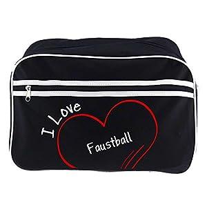 Retrotasche Modern I Love Faustball schwarz