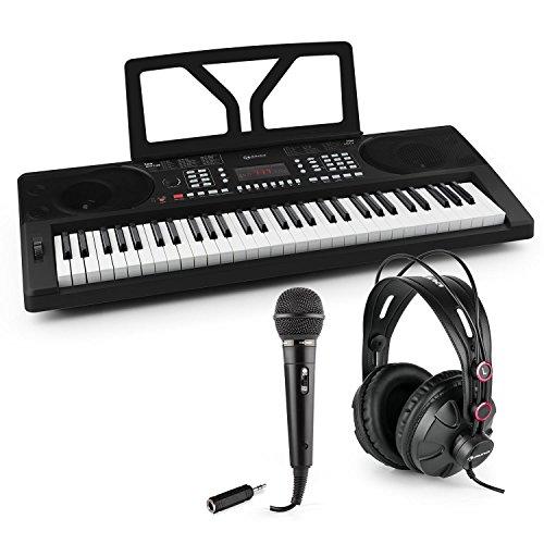 Unbekannt Schubert Etude 300 • Keyboard-Set • inklusive auna HR-580 Studiokopfhörer, oneConcept Karaoke Mikrofon und auna Adapter 6,3 mm auf 3,5 mm Klinke • 61 anschlagdynamische Tasten • schwarz