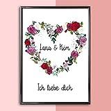 Personalisiertes Bild Blumenkranz in Herzform zur Hochzeit | Hochzeitsgeschenk