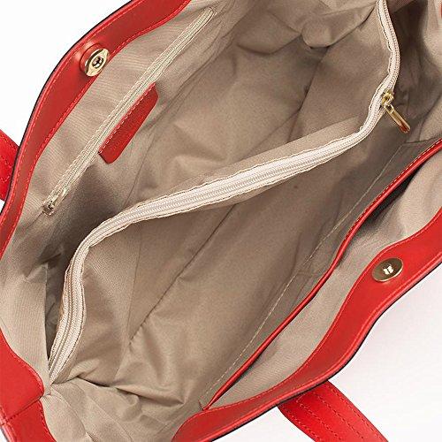 NADIA Borsa a spalla Tote Shopper con manici e cerniere laterali pelle liscia rosso